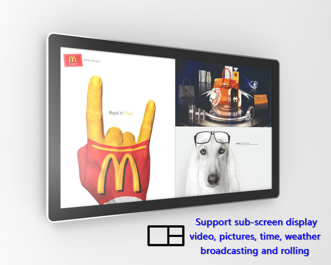 LCD Digital Advertising Display , Wall Mounted Interactive Touchscreen Display