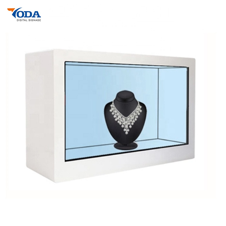 Transparent Advertising Interactive LCD Modern Video Display ShowCases