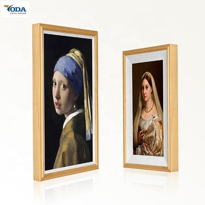China Customized Wooden Digital Photo Frame Viewer Wall Mounted Haze LCD Screen factory